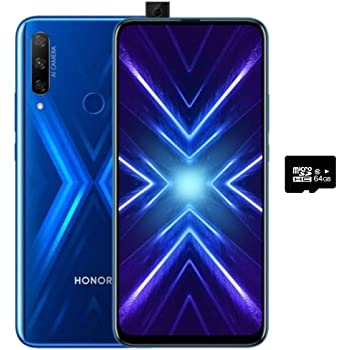 Honor 9X 6.59, 128GB, 6GB RAM, Triple Camera, Dual SIM GSM Unlocked No Warranty US- STK-LX3 (Blue, 128 GB)