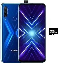 "Honor 9X (128GB, 6GB) 6.59"", 3 AI Cameras, 4000mAh Battery, Dual SIM GSM Unlocked US + Global 4G LTE International Model STK-LX3 (Blue, 128GB + 64GB SD + Case Bundle)"