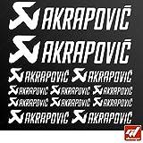Brett 12Sticker Aufkleber Akrapovic Auspuff Anlage–Weiß–Sticker, selbstklebend,...