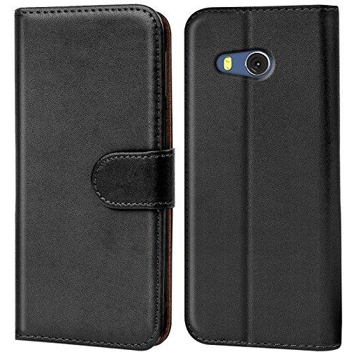 Verco HTC U11 Hülle, Handyhülle für HTC U11 Tasche PU Leder Flip Hülle Brieftasche - Schwarz