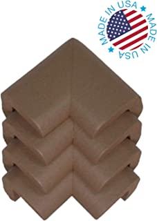 Kidkusion 4-Piece Safety Corner Cushion; 4 Pack Brown; Child Proofing Corner Guard; Made in USA; Child Safety, Home Furniture Safety Bumper, Baby Proof Table Protector