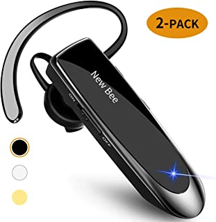 [2 Pack] Bluetooth Earpiece Wireless Handsfree Headset New Bee 24 Hrs Driving Headset 60 Days Standby Time with Noise Canc...