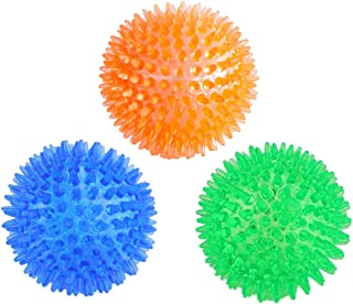 Orgrimmar 3 Pieces Pet Squeaky Chewing Balls Dog Soft Stab Balls Cleaning Teeth Toys Balls with High Bounce for Small Medium Large Pet Dog Cat Toys