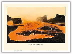 Pacifica Island Art - Kilauea Volcano - Big Island, Hawaii - Pele, Fire Goddess - Lava Flow - Vintage Hawaiian Cultural Images c.1920s - Master Art Print - 9in x 12in