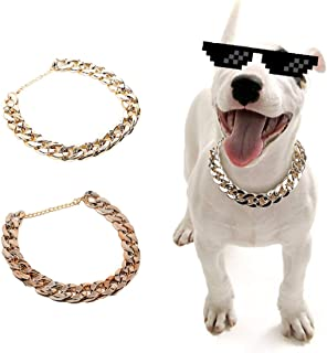 SOGAYU 2Pcs Gold Plastic Collar Link Chain Necklace for Cats Dogs.Cute Fashion Pet Metal Look...