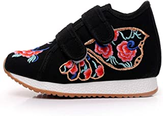 Inlefen Girl's Embroidered Shoes Sport Chinese Style Shoes Plat PU Sole Shoes