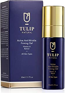 Active Anti-Wrinkle Firming Gel Vitamin A Retinol Moisturizer – Anti-Aging Nightly Facial Treatment Smooths Forehead Wrinkles, Fine Lines, Crows Feet Fast – Face Firming Cream by Tulip Natural, 1.75oz