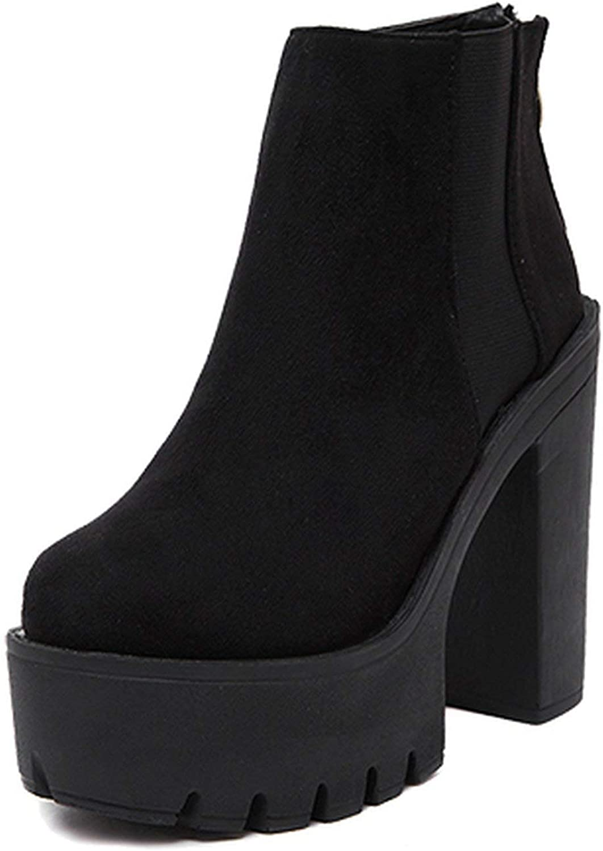 Summer-lavender Black Ankle Boots for Women Thick Heels Spring Autumn Flock Platform shoes High Heels Black Boots