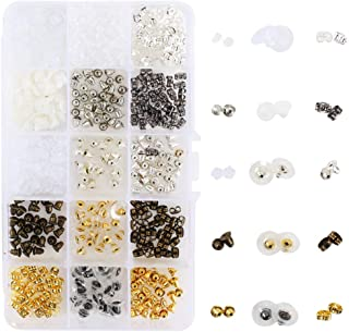 NACTECH 750 Piezas Tapones de Pendiente 15 estilos Cierres para Pendientes de Goma Tuercas Oído Mariposa Topes de Seguridad