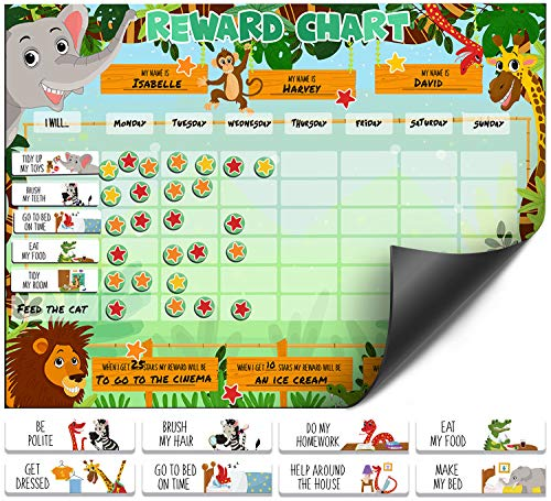Luigi's Large Safari Animal Magnetic Star/Reward Chart for Kids: Encourages Good Behaviour and Customisable with Choice of Magnets and Dry Erase Feature
