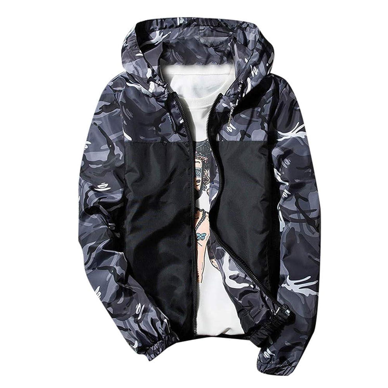 YOcheerful Mens Windbreaker Coat Men's Track Jacket Winter Hoodie Waterproof Windproof Outdoor Coat Jacket Outerwear