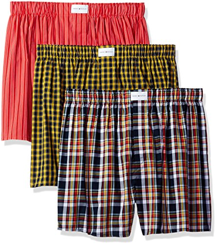 Tommy Hilfiger Men's Underwear 3 Pack Cotton Classics Woven Boxers, Orange/Blue Plaid/Orange Stripe/Yellow Plaid, Medium