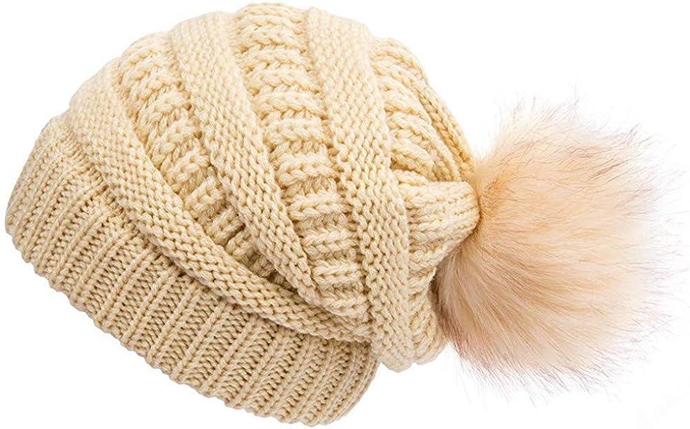Pom Pom Fur Beanies Hat Winter Warm Hat Beige