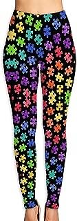 LONGTOU Colorful Autism Awareness Puzzle Pieces Athletic Yoga Workout Leggings Pants Soft Capri