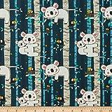 STOF France Koala Bleu Quilt Fabric