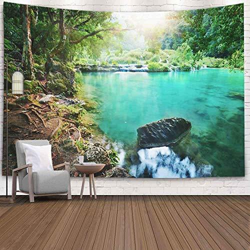Tapiz para dormitorio, tapiz para pared, tapiz para colgar en la pared, tapiz para exteriores, parque de lluvia, puesta de sol, Guatemala, Semuc Champey, tapiz fresco para dormitorio, tapiz moderno