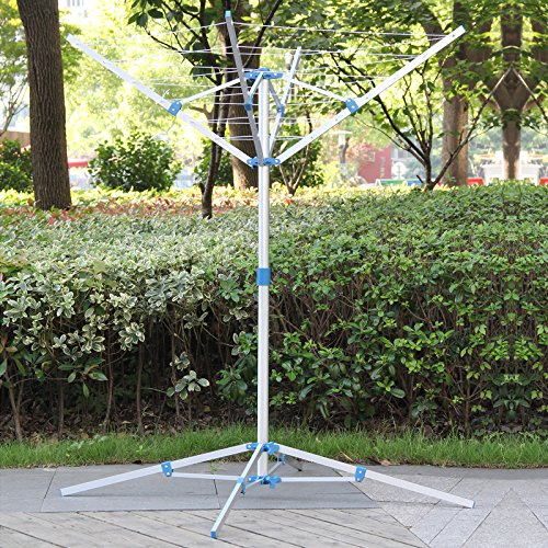 AllRight Indoor Airer 4 Arm Rotary Outdoor Clothes Dryer with 16M Washing Line And 4 Stable Stand Legs