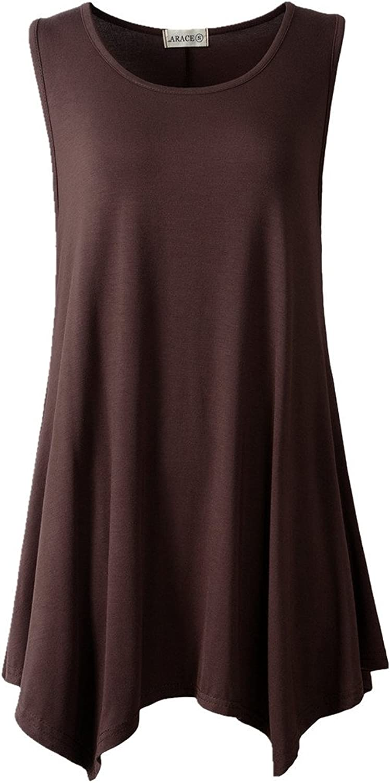 LARACE Women Plus Size Solid Basic Flowy Tank Tops Summer Sleeveless Tunic