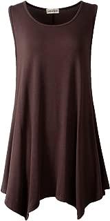 LARACE Lanmo Women Plus Size Solid Basic Flowy Tank Tops Summer Sleeveless Tunic (M, B Coffee)