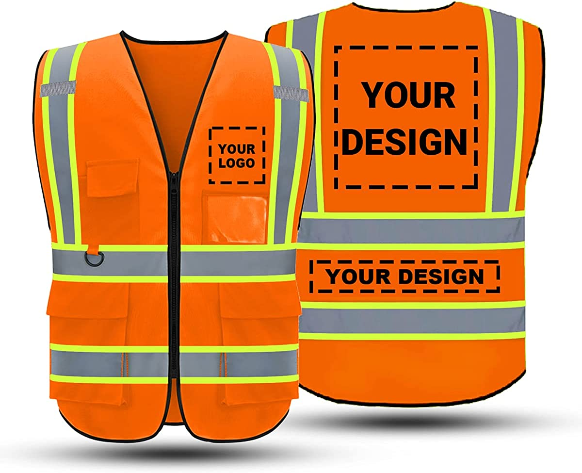 Custom Ranking TOP8 Logo High Visibility Safety Vest Lowest price challenge 5 Zippe and Pockets with