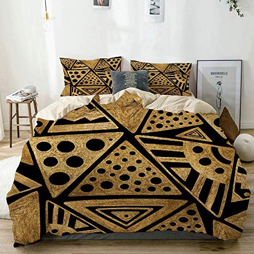 Beige Duvet Cover,Hand drawn tribal ethnic ornament abstract geometric gold pyramids folk illustration,3 Pieces Quality Printed Microfiber Bedding Set,Modern Design with Softness