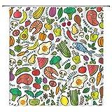 N\A Farmer's Market Duschvorhang Gemüse Obst & Fleisch Fisch Buntes Paleo Food Polyester Stoff Küche Badezimmer Dekor Set mit Hakenloch