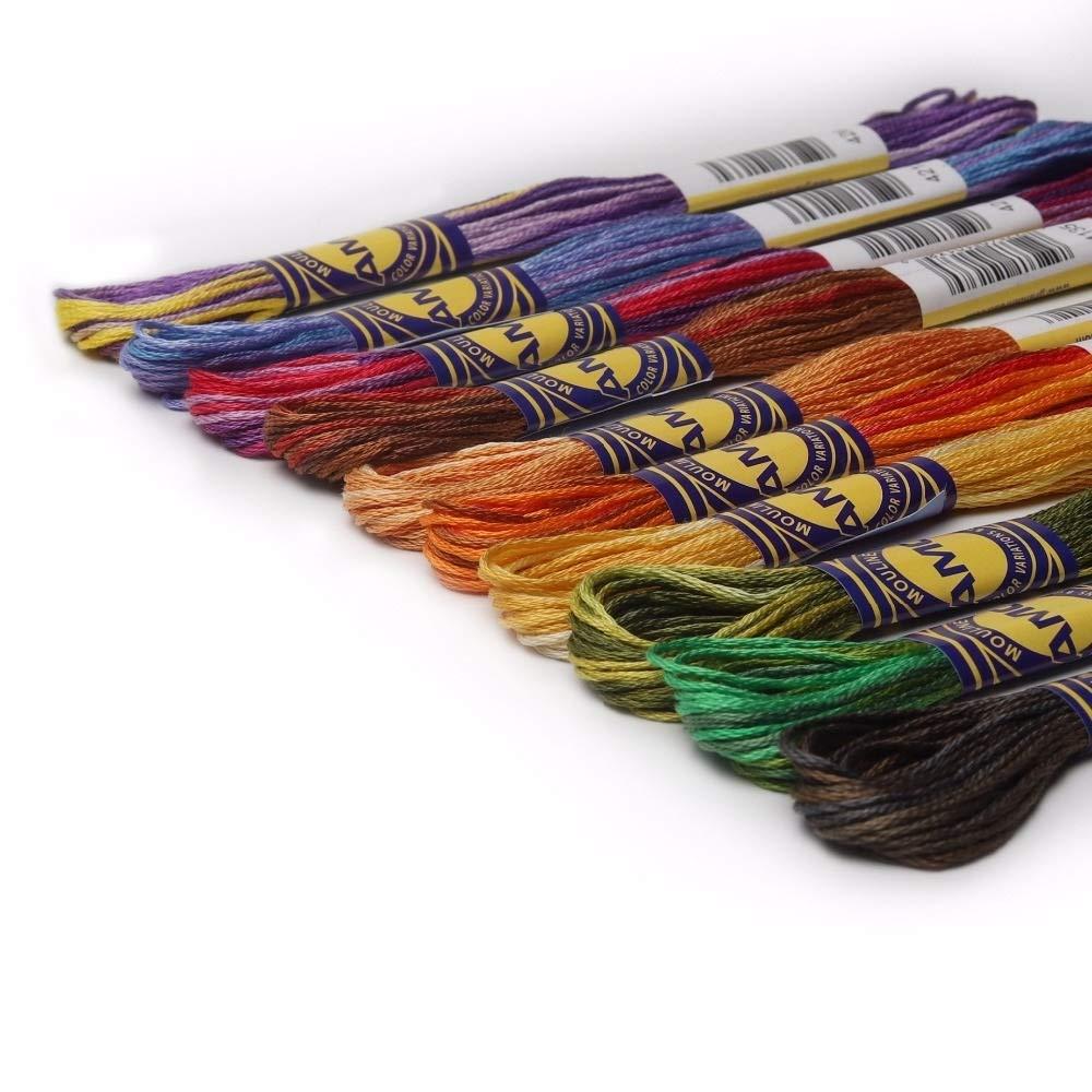 7°MR Hilos de Bordar Bordado Kit 41 Colores Variados Algodón Egipcio Mercerizado Hilo de Bordar 8 Metros por madeja Variación del Color Punto de Cruz Hilo: Amazon.es: Hogar