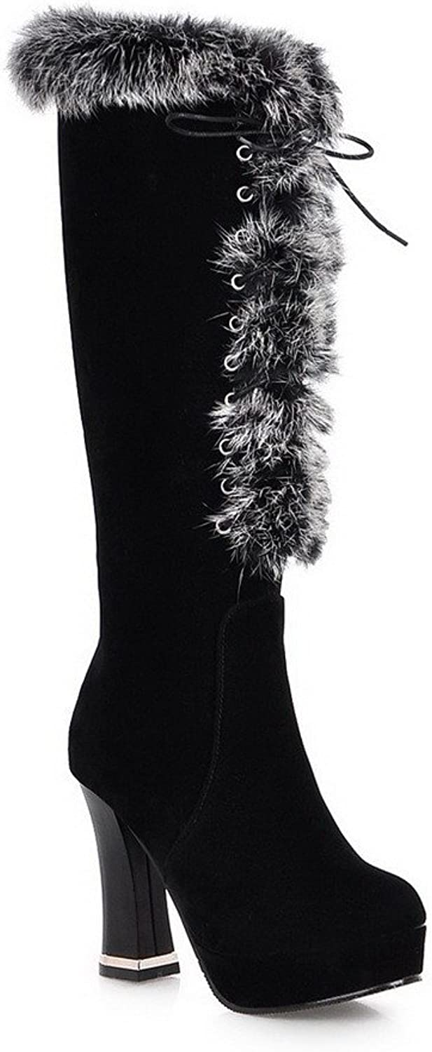 WeenFashion Women's Zipper Round Closed Toe Frosted Brazil Velvet Knee-high Boots