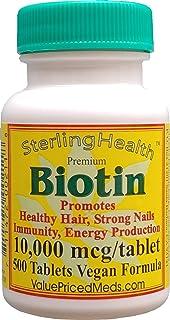 Biotin 10,000 mcg (200 Tablets) for Hair Growth, Skin, Strong Nails, biotin 10mg