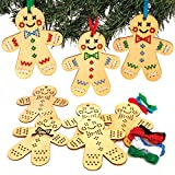 Baker Ross AT187 Gingerbread Wooden Cross Stitch Ornament Kits - Pack of 5, Cross Stitch for Beginners and for Kids Arts and Crafts Projects