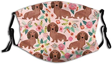 Hopewi Fashion Unisex Cloth Mask with Carbon Filter Breathable and Reusable Dachshunds FloralDogs Doxies Cute Doxie Weiner Dogs,Face Protect Cover Bandana for Outdoors Sports