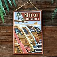 ハワイアン ウッドプラーク「Woodies Line up」 LP46525 【木製看板、アメリカ雑貨、ハワイアン雑貨、インテリア】