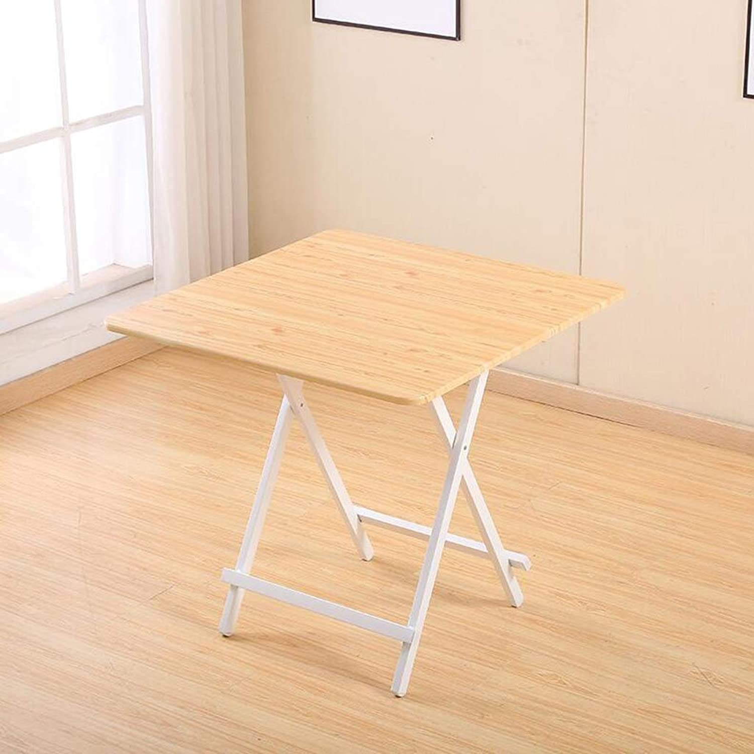SHWSM Folding Table Home Dining Table Small Apartment Simple Small Round Rice Table Portable Small Square Table Folding Table (color   B, Size   80×80×74cm)