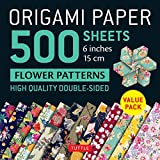 Origami Paper 500 sheets Flower Patterns 6' (15 cm): Tuttle Origami Paper: High-Quality Double-Sided Origami Sheets Printed with 12 Different Patterns (Instructions for 6 Projects Included)
