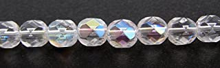 150 Czech 8mm Crystal Clear AB Faceted Round Firepolished Glass Beads 1/8 Mass Fire Polished