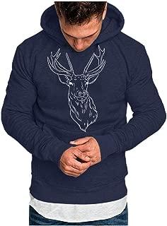 SPE969 Men's Wool Blend Hoodie,Sweatshirt Casual Sports Nice Christmas Printing Plus Velvet Tops