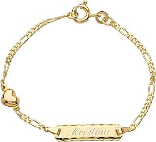 Kinder Baby Name Datum Gravur Armband Echt Gold 333 Armkette Länge 16-14 cm