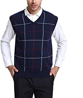 Kallspin Men's Plaid Sweater Vest Cashmere Blend Relaxed fit Knit V-Neck Pullover Knitwear