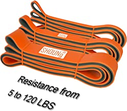 SHOUNg Stretch Resistance and Pull Up Band with Double Colors (Orange/Gray 5-120 LBS)
