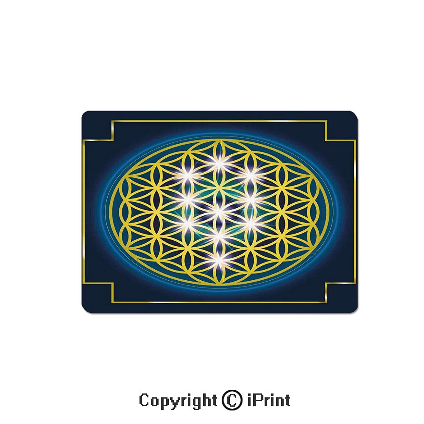 Anti-Slip Mouse Pad,Flower of Life in Internal Spirals with Vibrant Spots Belief Tradition Design Decorative Mouse Mat,Non-Slip Rubber Base Mousepad,7.9x9.5 inch,Indigo Yellow