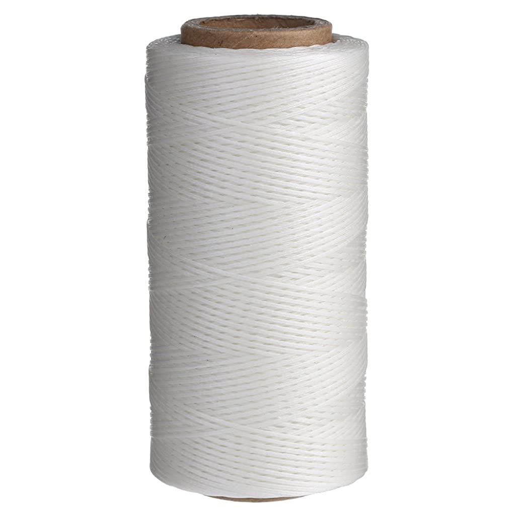 Wax Thread Leather Hand Stitching Leather Sewing Waxed Thread Leather Sewing Cord for leather craft 284yrdm 150D (1mm) (white)