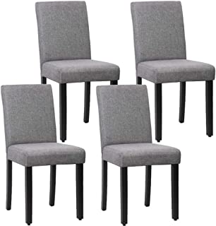 FDW Dining Parsons Chairs Set of 4 for Home Kitchen Living Room, Fabric Grey