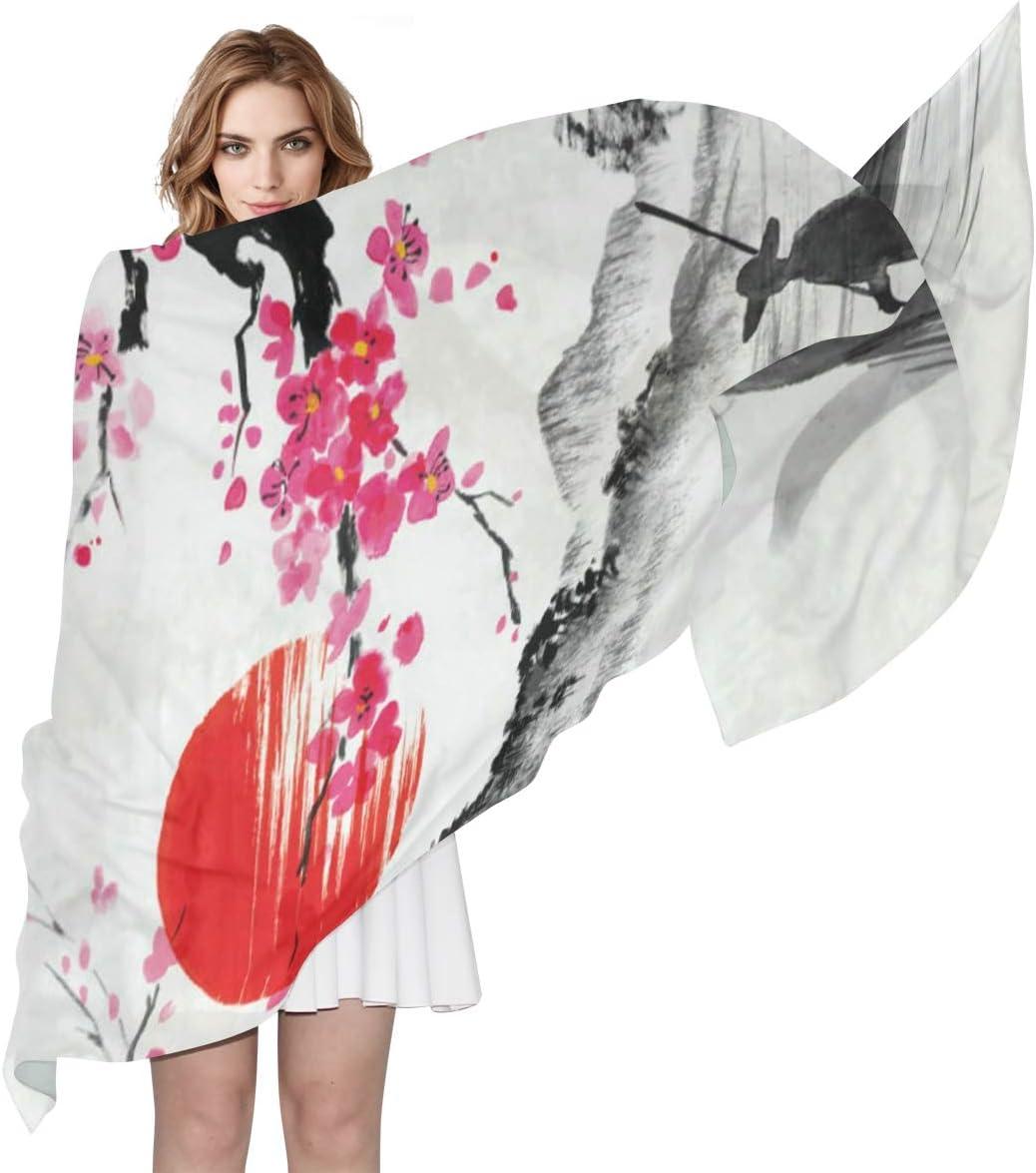 AUUXVA Fashion Scarf Watercolor Japan Cherry Blossom Ship Sunset Long Lightweight Sunscreen Scarf Shawl Wrap Muffler Neckerchief for Women Men