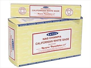 Chi-City Mall Satya Nag Champa Californian White Sage Incense Sticks   Signature Fragrance   Net Wt: 15g x 12 Boxes = 180g...