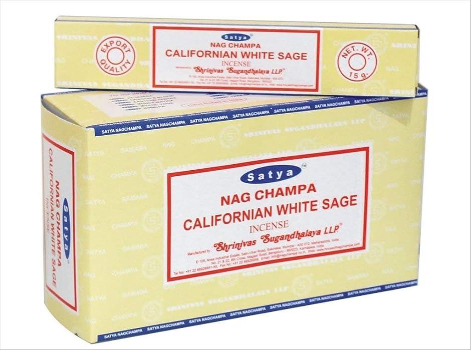 志すテクトニックそしてchi-city Mall Satya Nag Champa Californianホワイトセージお香|署名Fragrance | Net Wt : 15?g x 12ボックス= 180?g | Exclusivelyインド製|エクスポート品質| handrolled非毒性Incense
