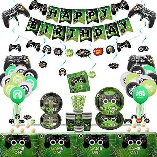 Videospiel Party Zubehör - Gaming-Themen-Geburtstagsfeier-Dekor für Jungen und Spieler - Einschließlich Teller, Tassen, Servietten, Tischdecken, hängende Strudel, Banner und Luftballons (für 20)