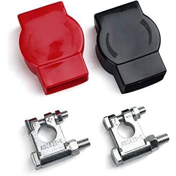 LotFancy Military Spec Battery Terminal Top Post Set, for Marine Vessels Cars Boats RVs, 1 Pair each with Cover (Positive & Negative)