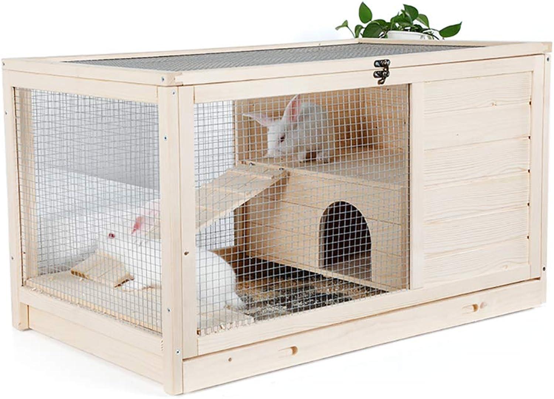 DJLOOKK Pet Indoor and Outdoor House Rabbit cage Dutch pig cage hedgehog cage guinea pig cage solid wood indoor rabbit cage