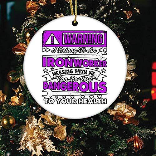Saniel Gift Warning I Belong to an Ironworker (2 pcs) Christmas Ornament - Holiday Ceramic Keepsake 3