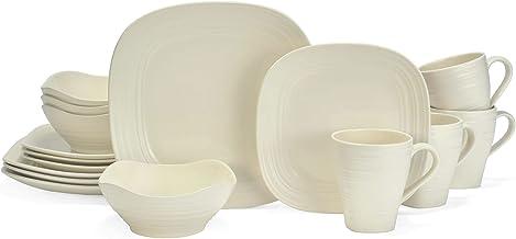 Mikasa Swirl Square White 16 Piece Dinnerware Set, Service for 4